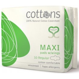 Cottons Natural Regular Flow Maxi Pads with Wings - Pack of 10