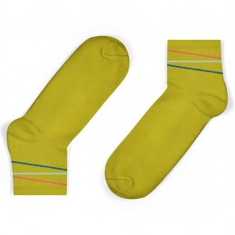 Unisock Kids Mustard Multi-Coloured Diagonal Stripes Ankle Socks