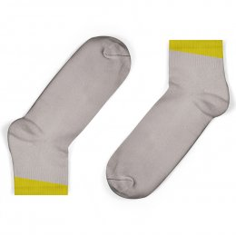 Unisock Kids Grey Ankle Socks with Mustard Angled Cuff