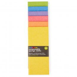 ecoLiving Compostable Sponge Cleaning Cloths - Rainbow - Pack of 6