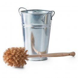 ecoLiving Plastic Free Toilet Brush & Silver Holder Set