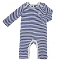 Teddley London Organic Babygrow With Snaps - Navy Blue Stripes