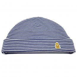 Teddley London Organic Hat with Turnup - Navy Blue Stripes