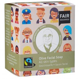 Fair Squared Olive Facial Soap with Cotton Soap Bag - All Skin Types - 2 x 80g