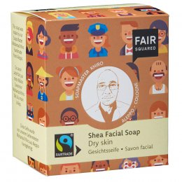 Fair Squared Shea Facial Soap with Cotton Soap Bag - Dry Skin - 2 x 80g