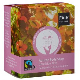 Fair Squared Apricot Body Soap with Cotton Soap Bag - Sensitive Skin - 2 x 80g
