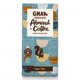 Gnaw Organic Almond & Coffee Dark Chocolate - 100g