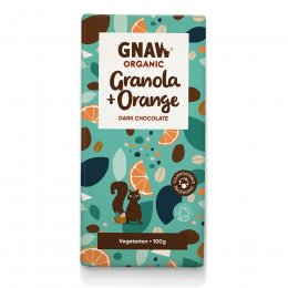 Gnaw Organic Orange & Granola Dark Chocolate - 100g