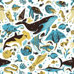Maemara Ocean Friends Fabric by the Meter - Yellow