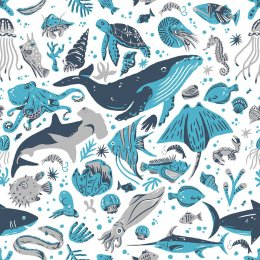 Maemara Ocean Friends Fabric by the Meter - Blue