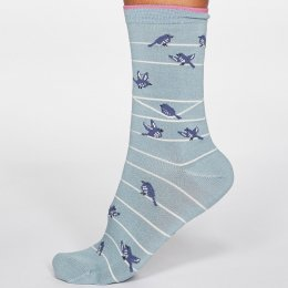 Thought Duck Egg Vivian Bird Bamboo Socks - UK 4-7