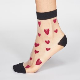 Thought Magenta Pink Zari Heart Bamboo Socks - UK 4-7