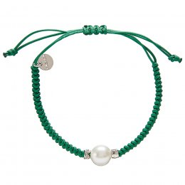 Kashka London Adira Fresh Water Shell Friendship Bracelet - Emerald Green