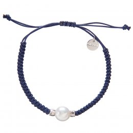 Kashka London Adira Fresh Water Shell Friendship Bracelet - Navy