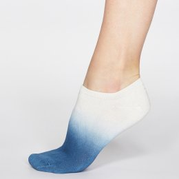 Thought Denim Blue Mercy Dip Dye Bamboo Trainer Socks - UK 4-7