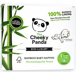 The Cheeky Panda Bamboo Baby Nappies - Size 1 - Pack of 18