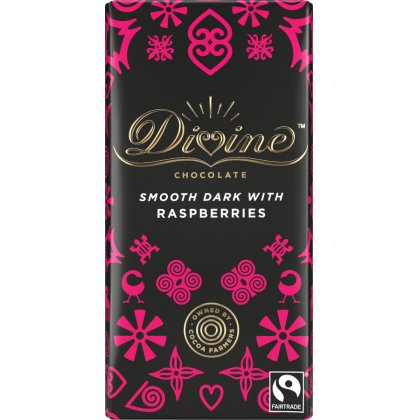 Divine 70 percent  Dark Chocolate with Raspberries