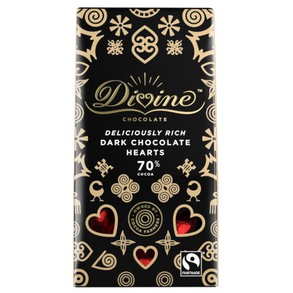 Divine 70 percent  Dark Chocolate Hearts