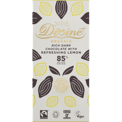 Organic 85 percent  Dark Chocolate with Lemon - 80g