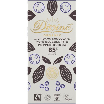Organic 85 percent  Dark Chocolate With Quinoa and Blueberry