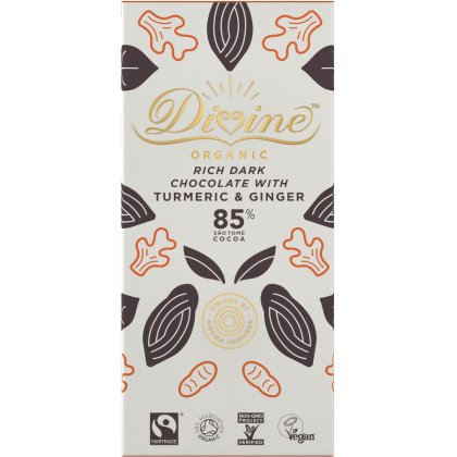 Organic 85 percent  Dark Chocolate With & Ginger