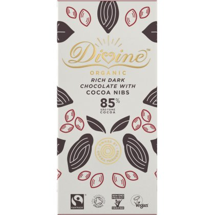 Organic 85 percent  Dark Chocolate with Cocoa Nibs - 80g