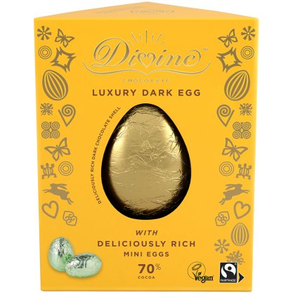 Divine Luxury 70 percent  Dark Chocolate Vegan Easter Egg with Dark Mini Easter Eggs - 260g