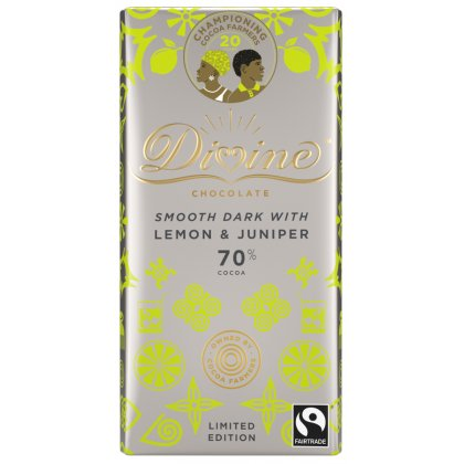 Divine 70 percent  Dark Chocolate with Lemon & Juniper - 90g