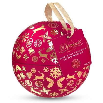 Divine Chocolate Covered Pretzel Nibbles Christmas Tin Bauble