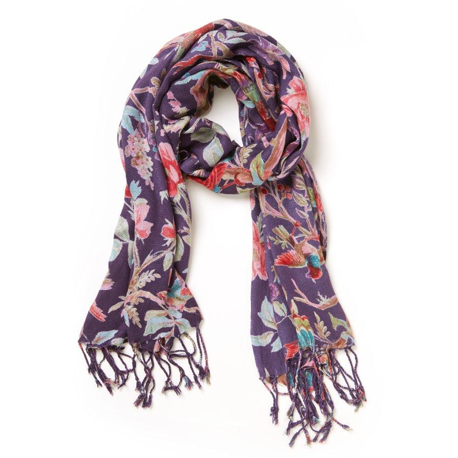 d6b8e9586d4e03 fair trade handmade bird print scarf purple 170x50 cm natural collection  select